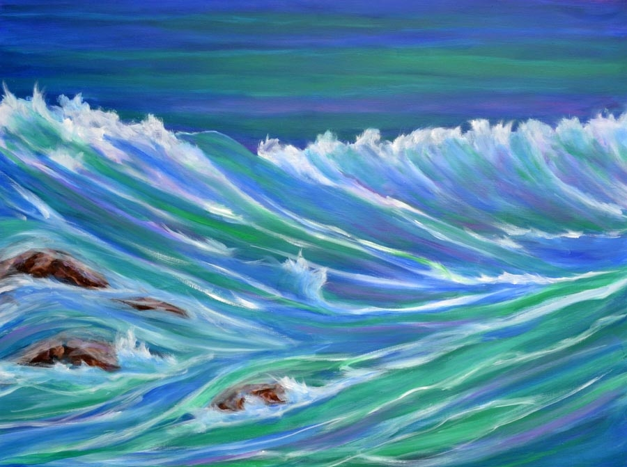 Cascading surf - oil on canvas - 30 x 40 rs 900