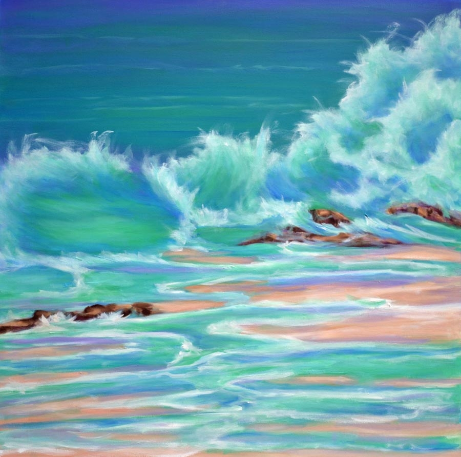 Crashing Waves - oil on canvas 40 x 40 rs 900