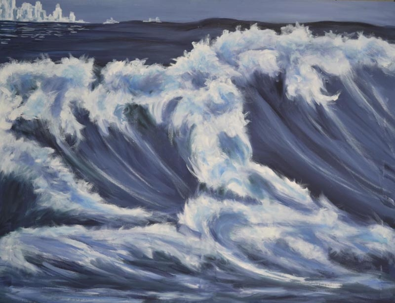 Glacier ice caps - oil on canvas 43 x 33 rs