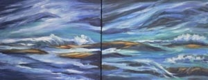 Island Storm - oil on canvas - 16 x 48 rs 300