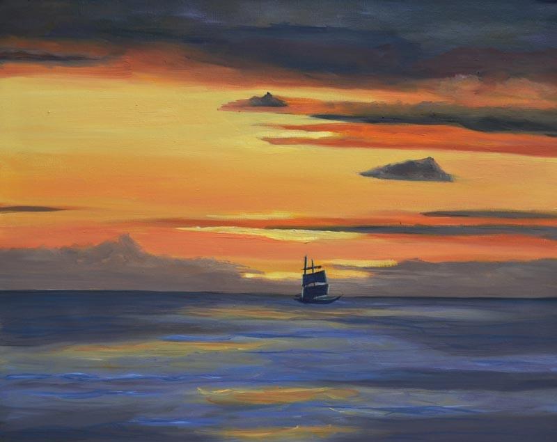 LaVista sunset - oil on canvas 16 x 20