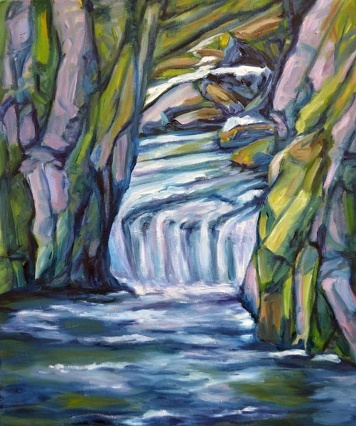 The Falls in Spring - 20 x 24 oil on canvas rs
