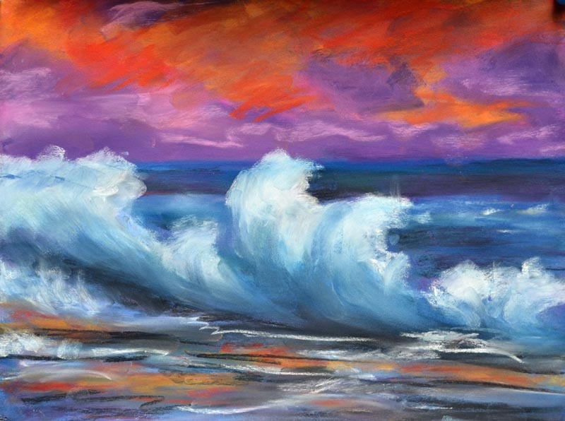 Breaking Surf on the ledge - 9 x 12 pastel rs