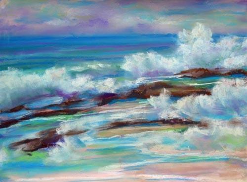Crashing Waves - pastel 9 x 12 rs