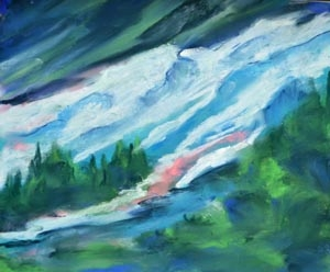 Iceland's cascade - pastel 9 x 12 rs