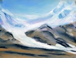 Iceland's glacier melt - pastel - 9 x 12 rs