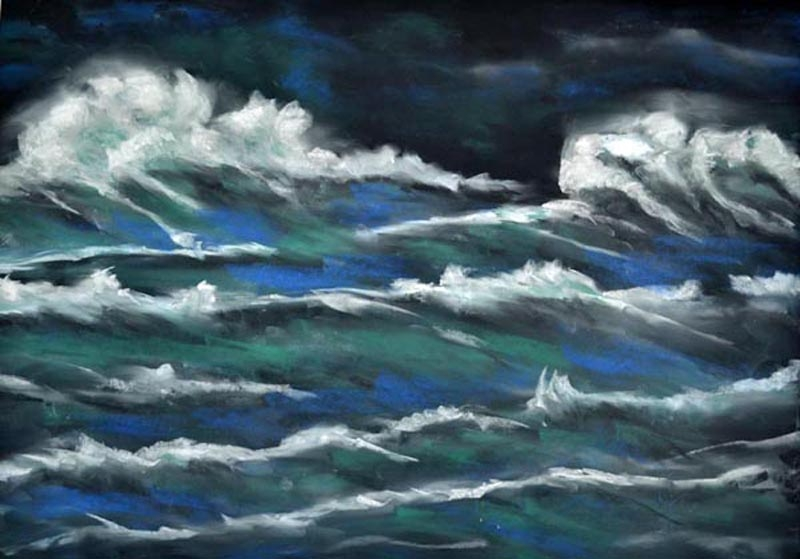 Midnight High Tide - 20 x 24 - pastel rs