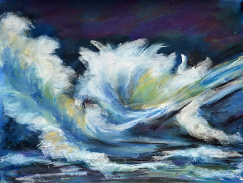 Midnight Surf - 9 x 12 pastel rs