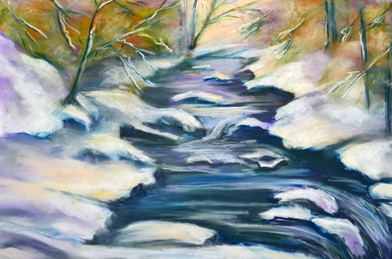 Snow on lower Falls - pastel 11 x 14 rs