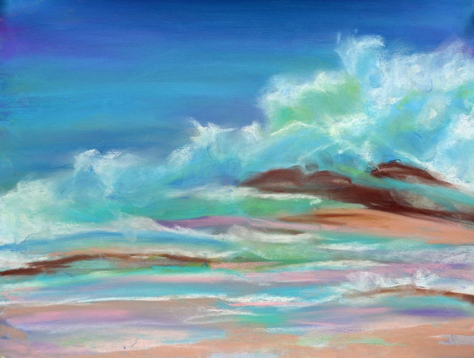 St Maarten surf 1 - pastel 9 x 12 rs