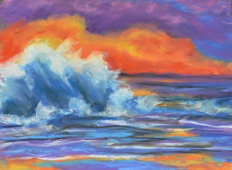 Surf's up - 9 x 12 pastel